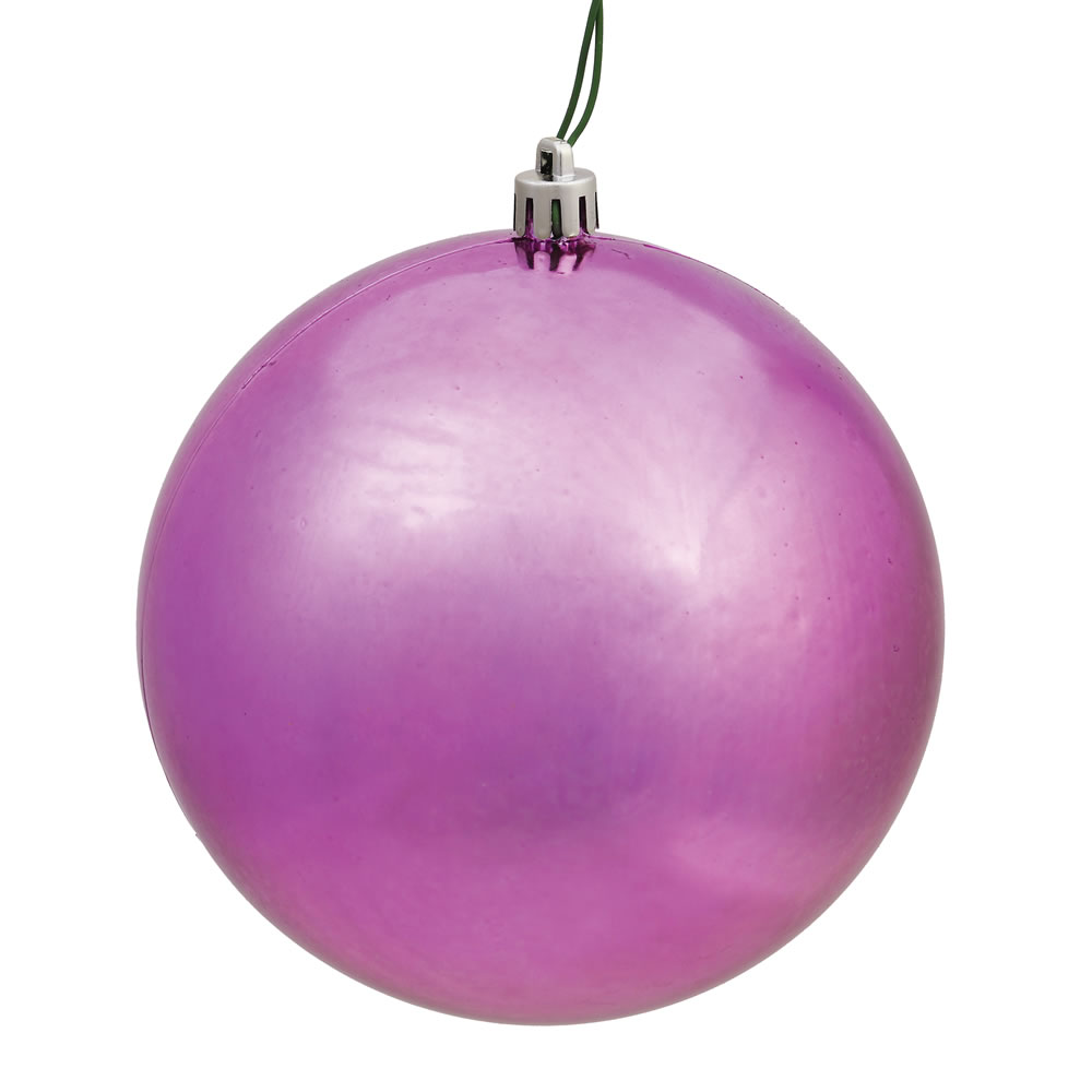 10 Inch Mauve Shiny Artificial Christmas Ball Ornament - UV Drilled Cap