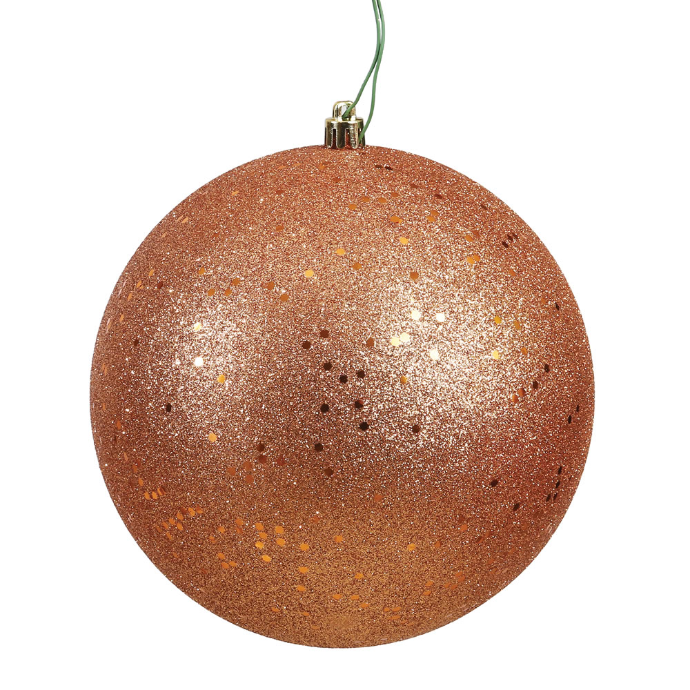 10 Inch Rose Gold Sequin Christmas Ball Ornament with Drilled Cap
