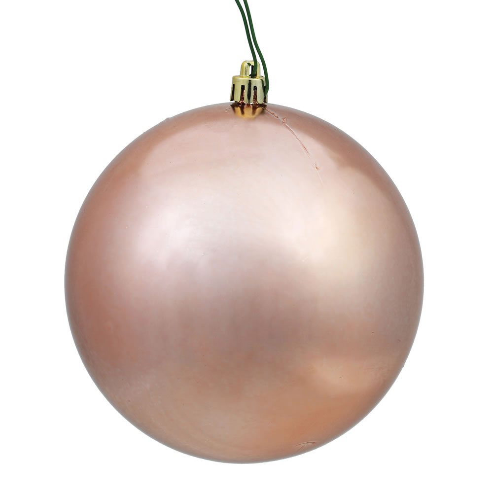 10 Inch Rose Gold Shiny Artificial Christmas Ball Ornament - UV Drilled Cap