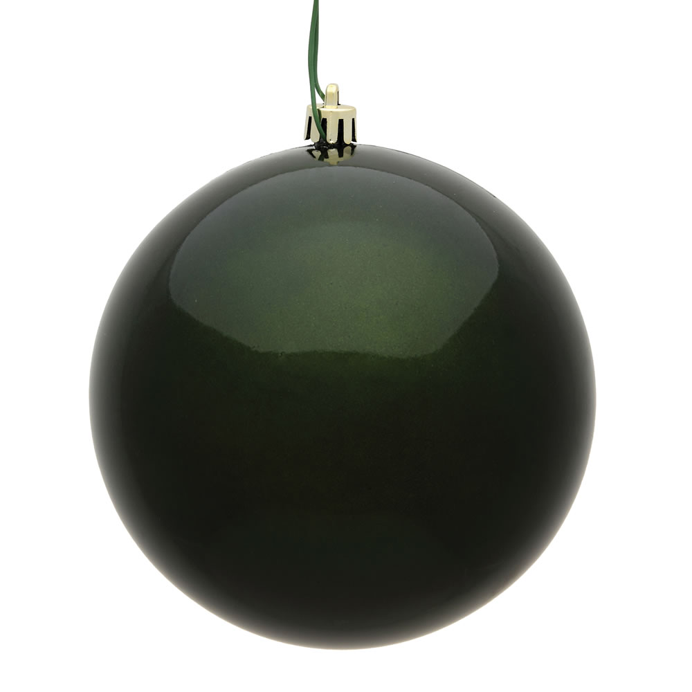 10 Inch Moss Green Candy Artificial Christmas Ball Ornament - UV Drilled Cap