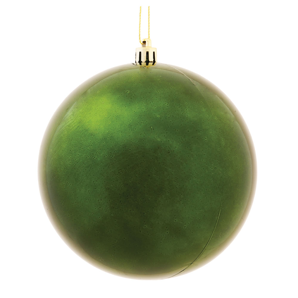 10 Inch Moss Green Shiny Artificial Christmas Ball Ornament - UV Drilled Cap