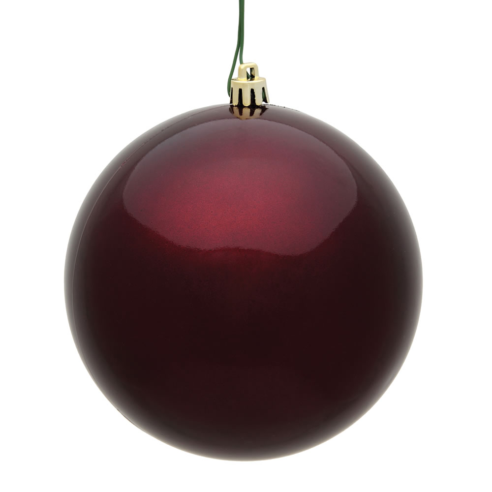 10 Inch Burgundy Candy Artificial Christmas Ball Ornament - UV Drilled Cap