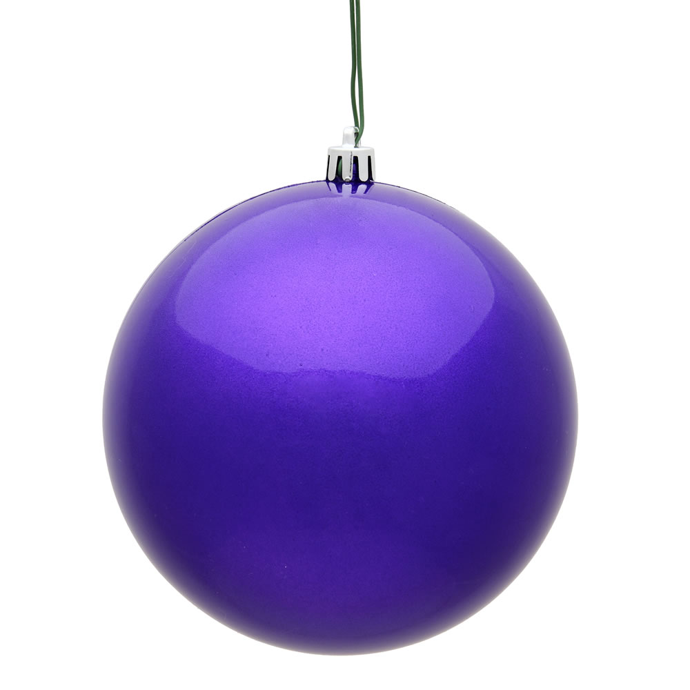 10 Inch Purple Candy Artificial Christmas Ball ornament - UV Drilled Cap