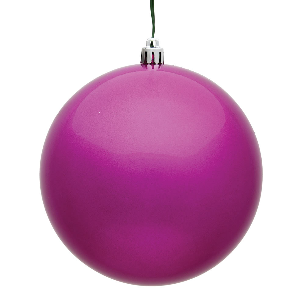 10 Inch Fuchsia Candy Artificial Christmas Ball Ornament - UV Drilled Cap