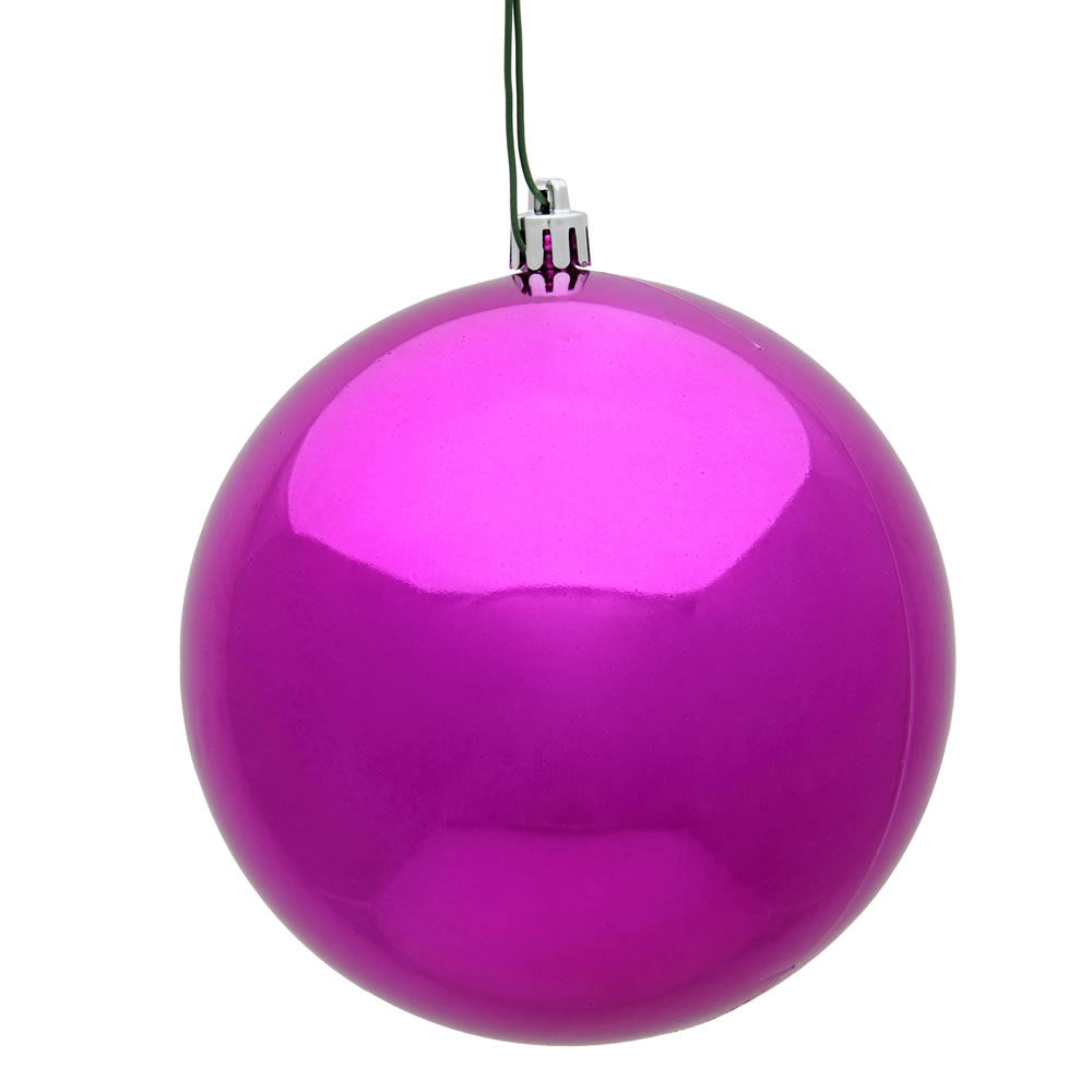 10 Inch Fuchsia Shiny Artificial Christmas Ball Ornament - UV Drilled Cap