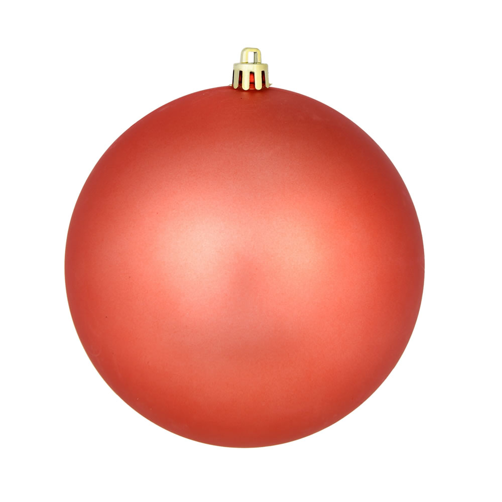 10 Inch Coral Matte Christmas Ball Ornament with Drilled Cap