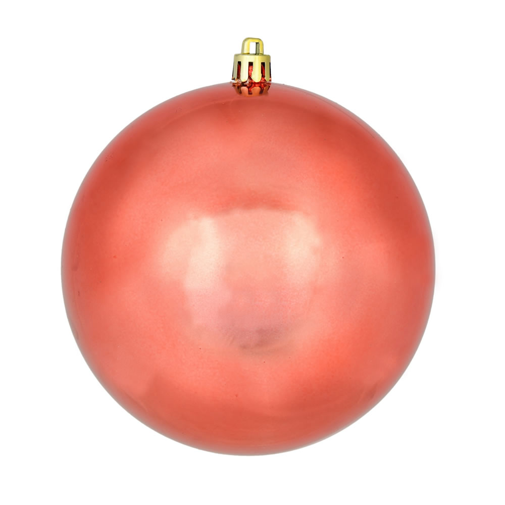 10 Inch Coral Shiny Artificial Christmas Ball Ornament - UV Drilled Cap