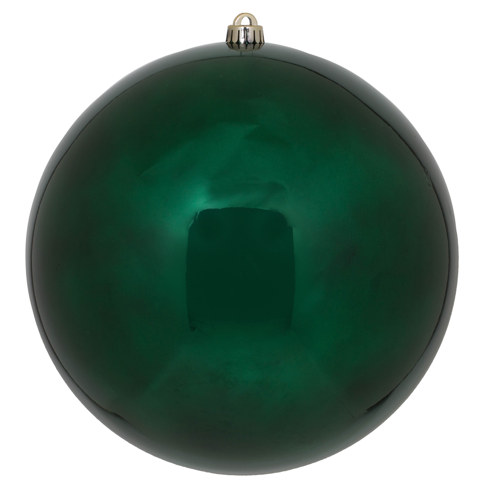 10 Inch Midnight Green Shiny Artificial Christmas Ball Ornament - UV Drilled Cap