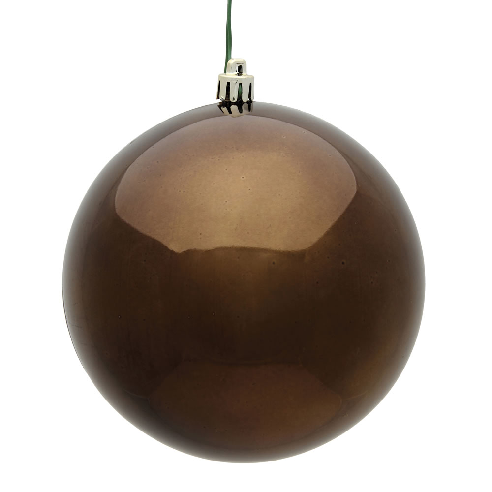 10 Inch Chocolate Shiny Artificial Christmas Ball Ornament - UV Drilled Cap