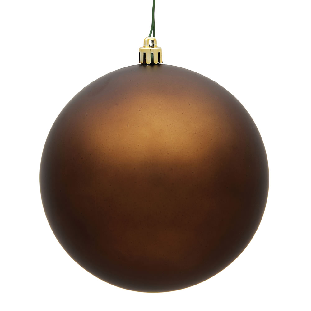 10 Inch Mocha Matte Artificial Christmas Ball Ornament - UV Drilled Cap