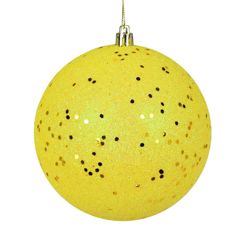 10 Inch Yellow Sequin Christmas Ball Ornament with Drilled Cap