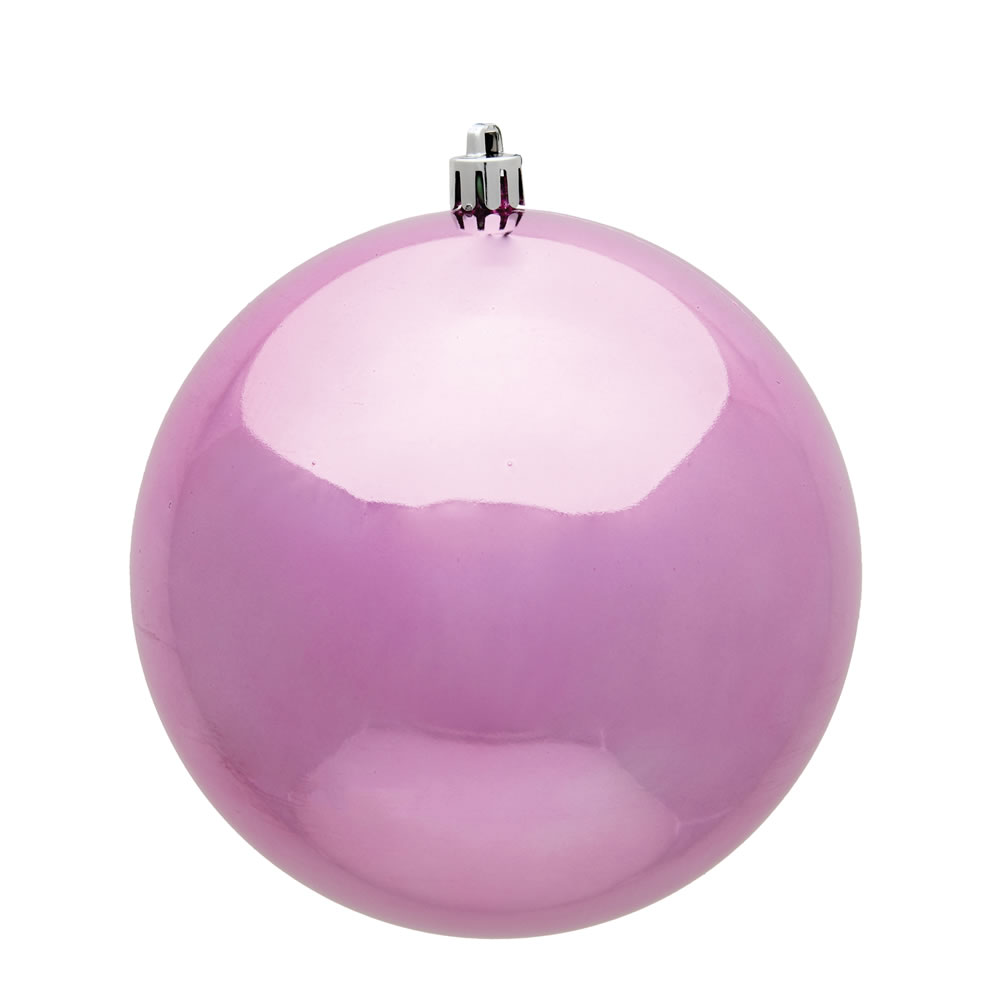 10 Inch Pink Shiny Artificial Christmas Ball Ornament - UV Drilled Cap