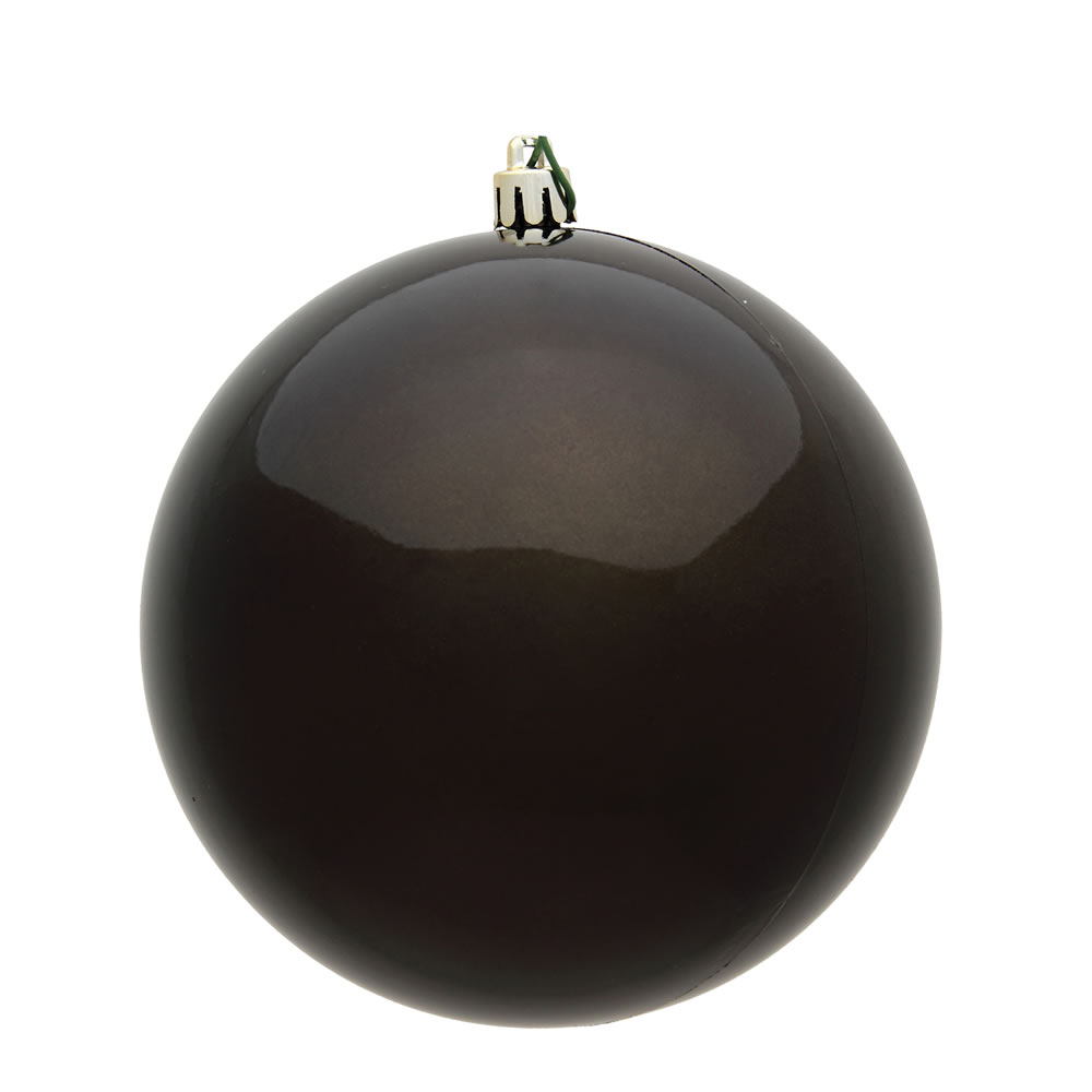 10 Inch Gunmetal Shiny Artificial Christmas Ball Ornament - UV Drilled Cap