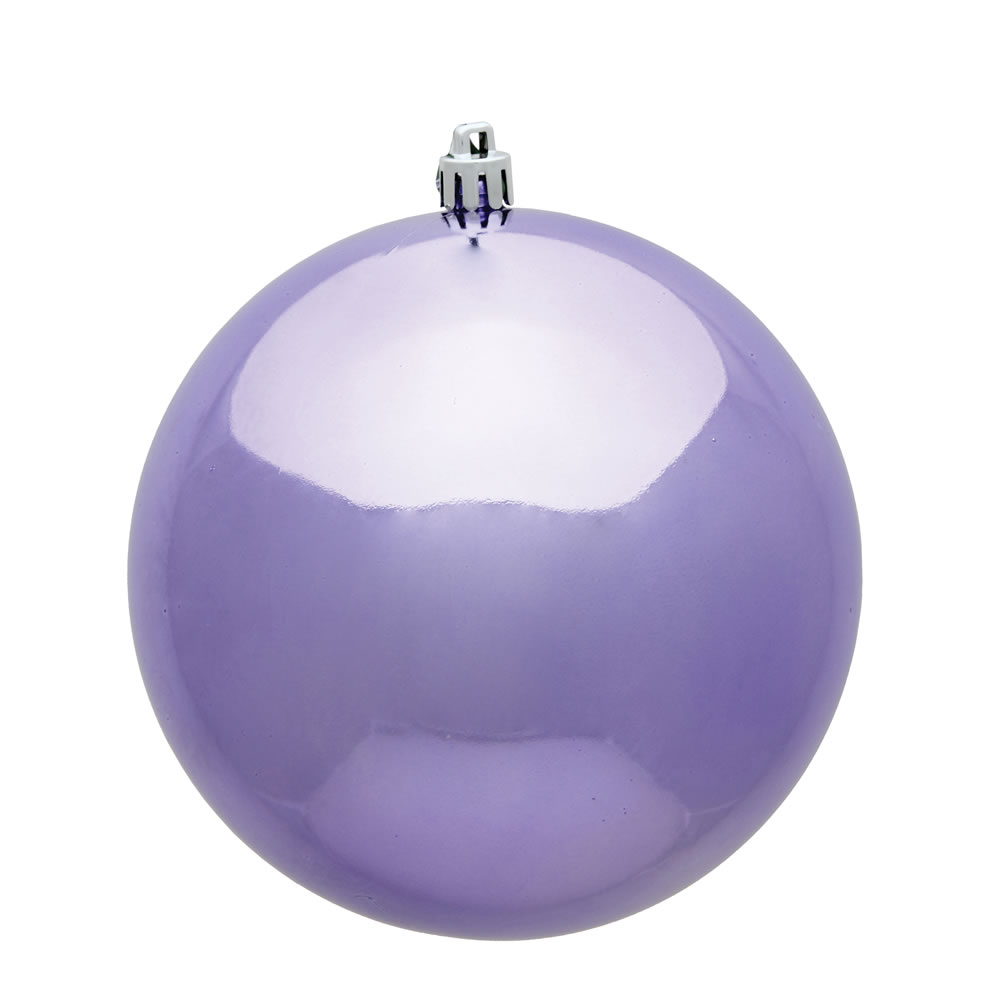 10 Inch Lavender Shiny Artificial Christmas Ball Ornament - UV Drilled Cap