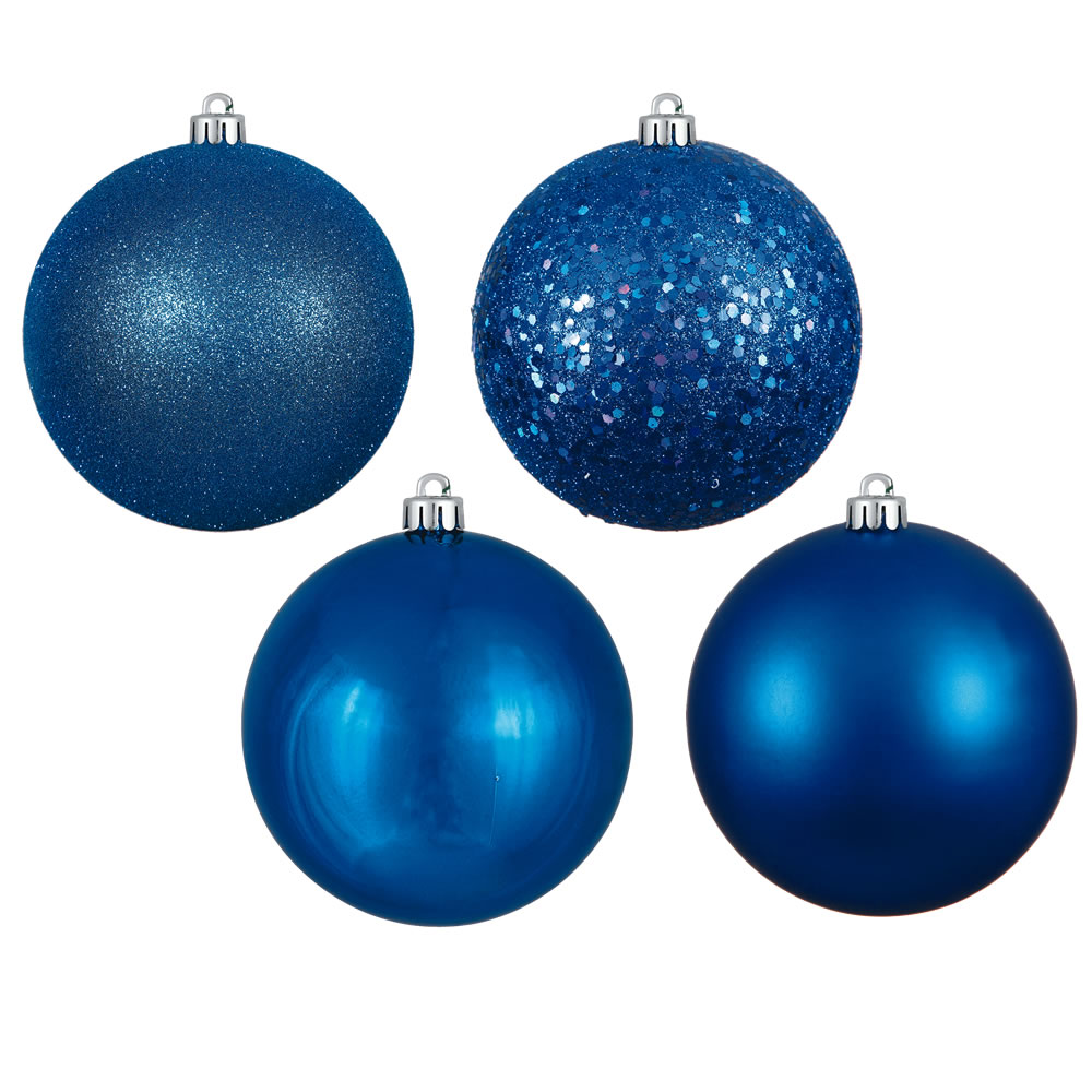 12 Inch Blue Round Christmas Ball Ornament Shatterproof Set of 4 Assorted Finishes