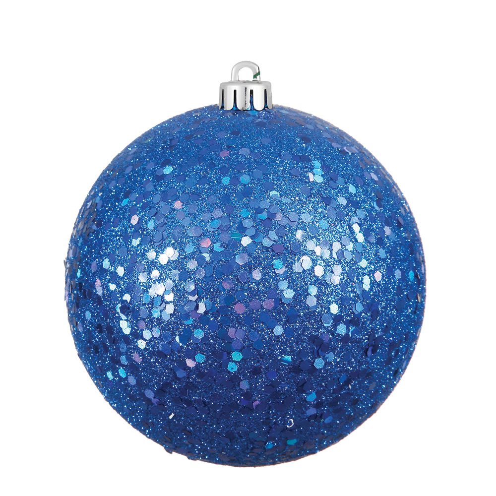 12 Inch Blue Sequin Round Christmas Ball Ornament Shatterproof UV