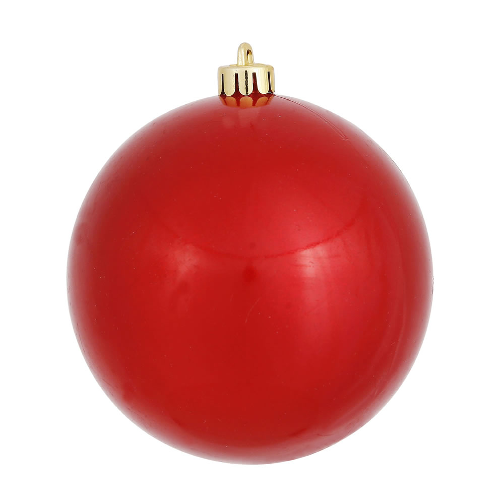 12 Inch Red Candy Round Christmas Ball Ornament Shatterproof UV