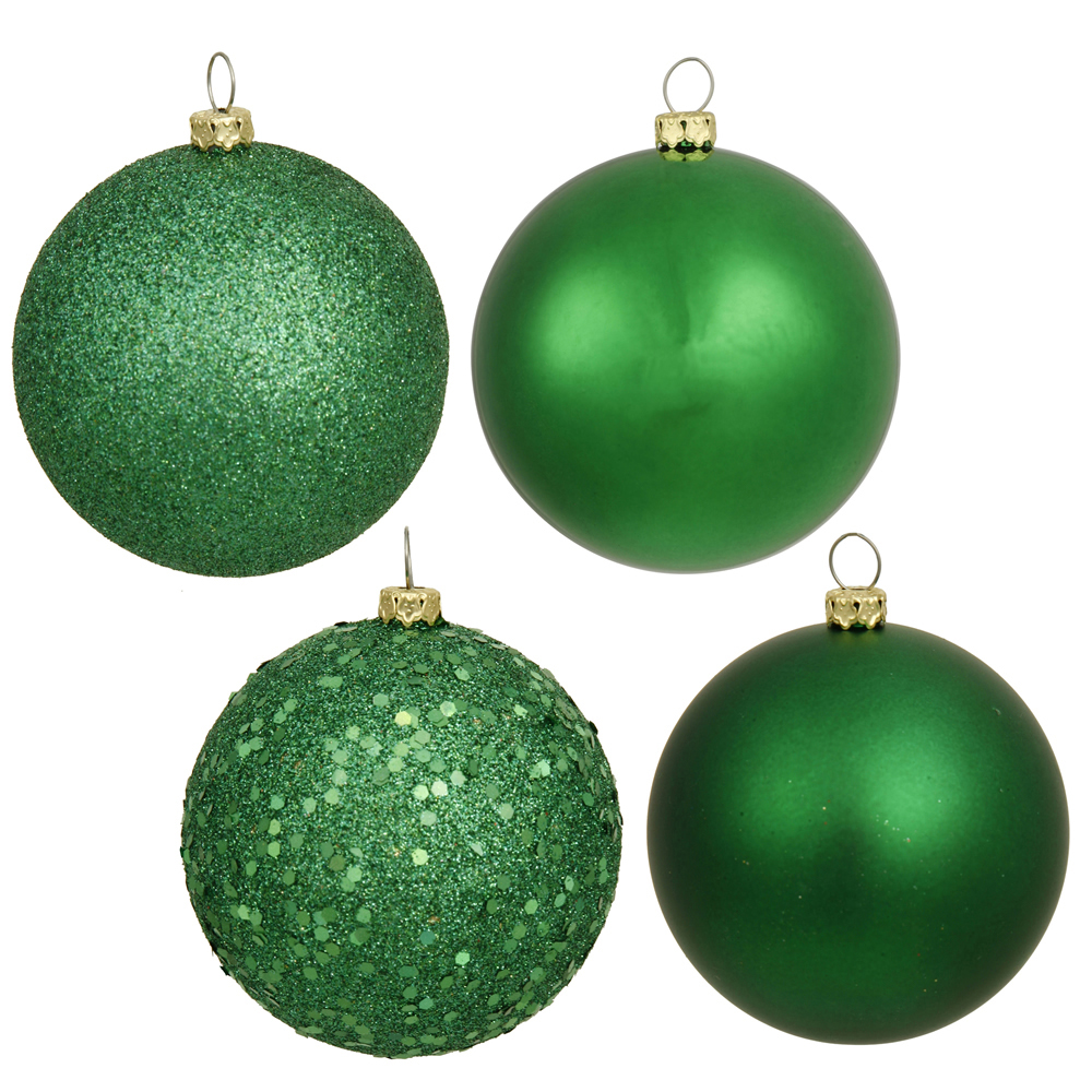 12 Inch Green Round Christmas Ball Ornament Shatterproof Set of 4 Assorted Finishes