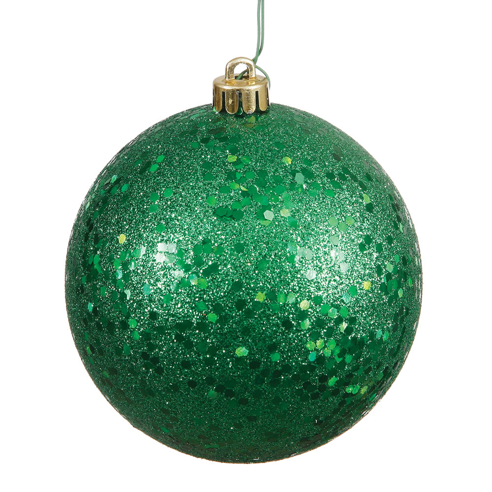 12 Inch Green Sequin Round Christmas Ball Ornament Shatterproof UV