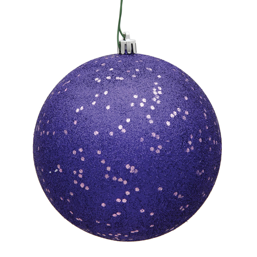 12 Inch Purple Sequin Round Christmas Ball Ornament Shatterproof UV