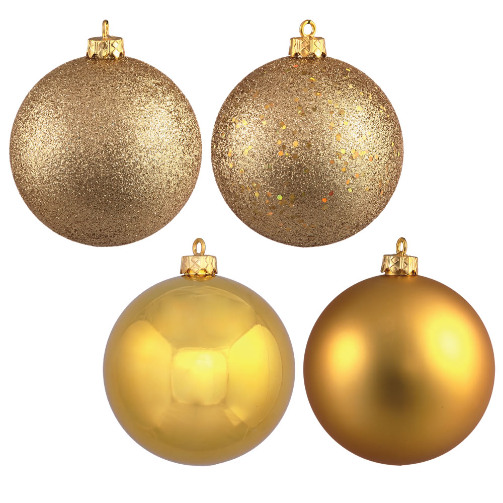 12 Inch Golden Round Christmas Ball Ornament Shatterproof Set of 4 Assorted Finishes