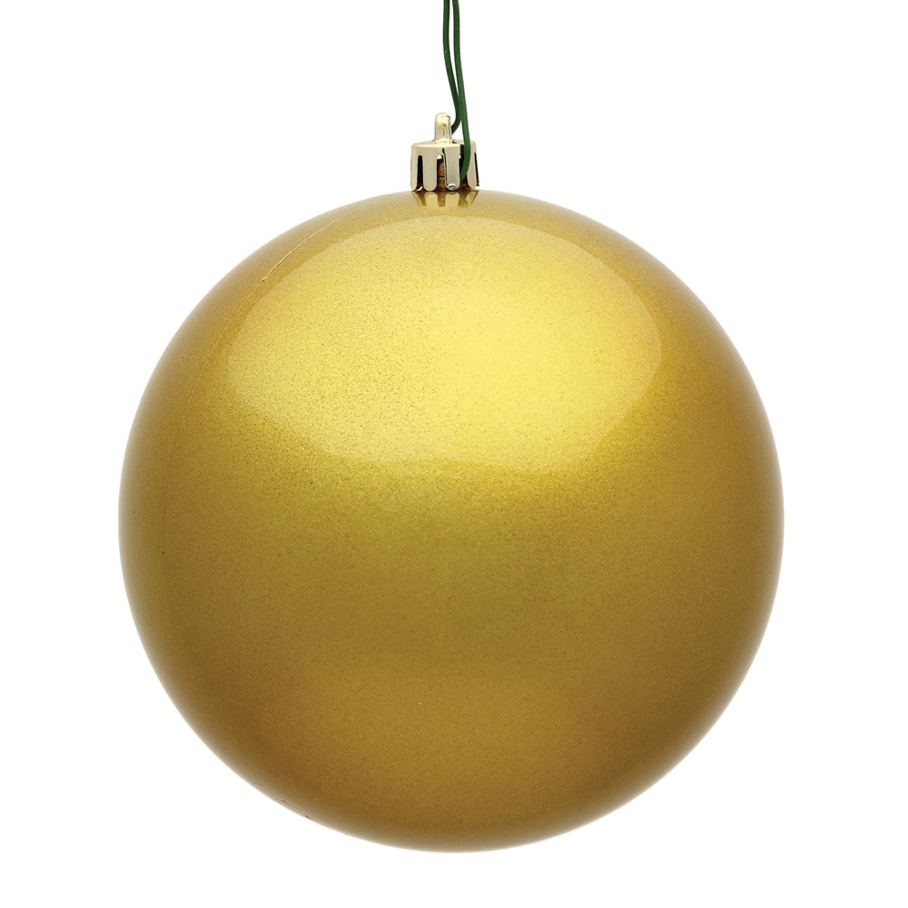 12 Inch Golden Candy Round Christmas Ball Ornament Shatterproof UV