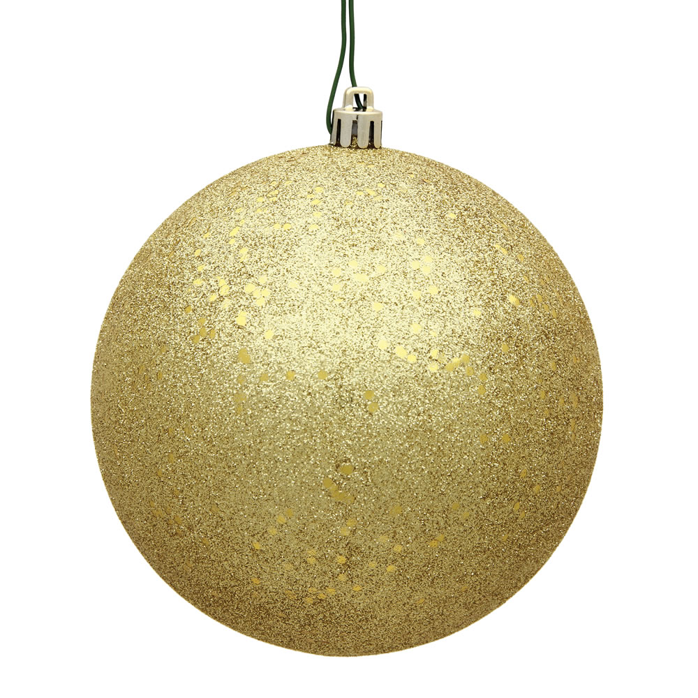12 Inch Golden Sequin Round Christmas Ball Ornament Shatterproof UV