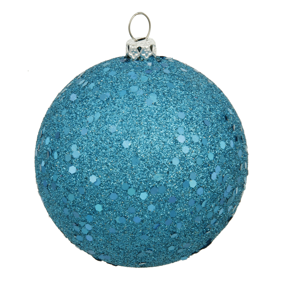 12 Inch Turquoise Sequin Round Shatterproof UV Christmas Ball Ornament