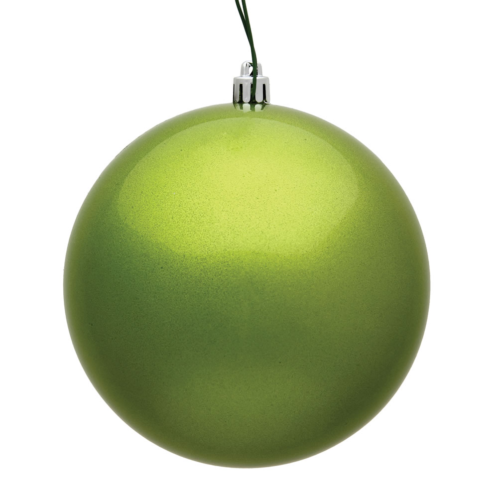 12 Inch Lime Green Candy Round Christmas Ball Ornament Shatterproof UV