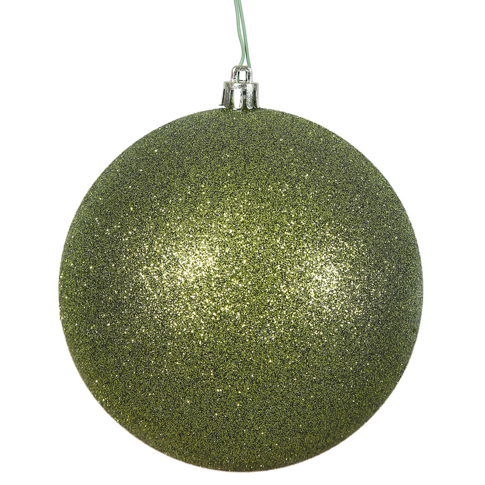 12 Inch Olive Green Glitter Round Shatterproof UV Christmas Ball Ornament