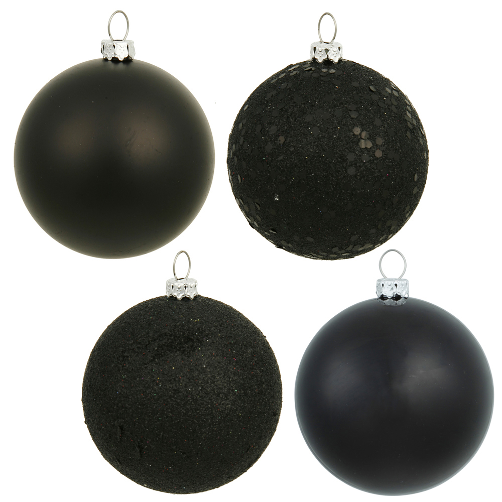 12 Inch Black Round Christmas Ball Ornament Shatterproof Set of 4 Assorted Finishes