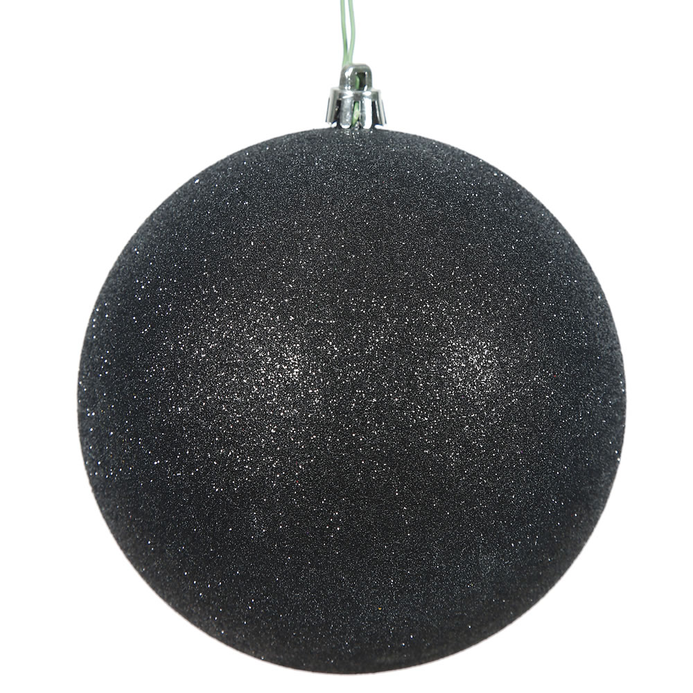 12 Inch Black Glitter Christmas Ball Ornament with Drilled Cap