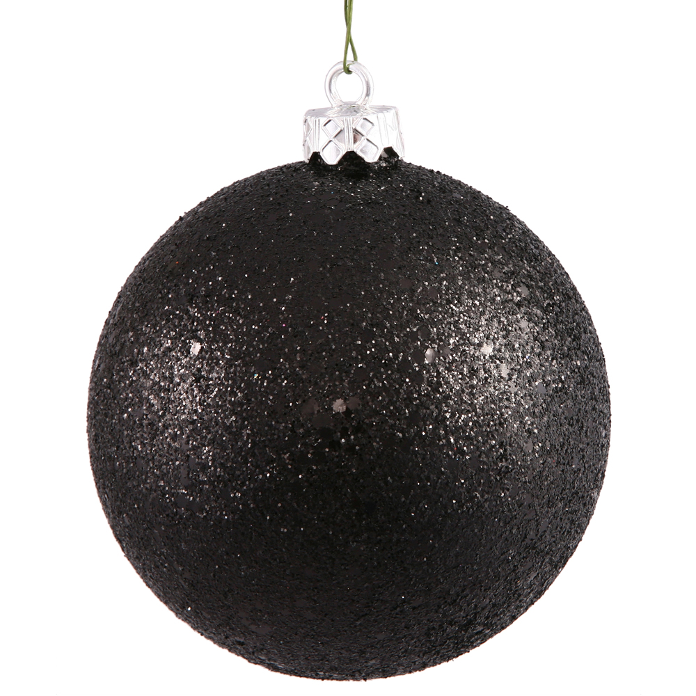 12 Inch Black Sequin Round Shatterproof UV Christmas Ball Ornament