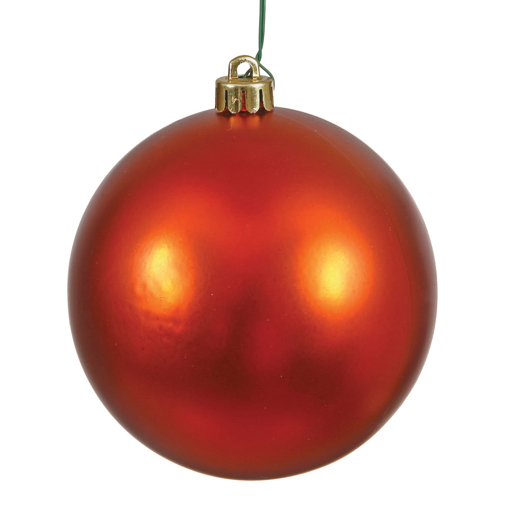 12 Inch Burnish Orange Matte Round Shatterproof UV Christmas Ball Ornament