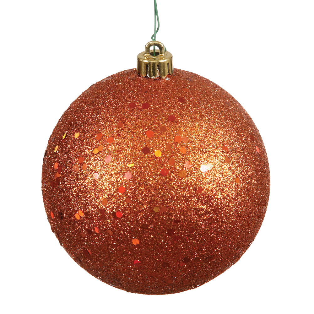 12 Inch Bunish Orange SequinRound Shatterproof UV Christmas Ball Ornament