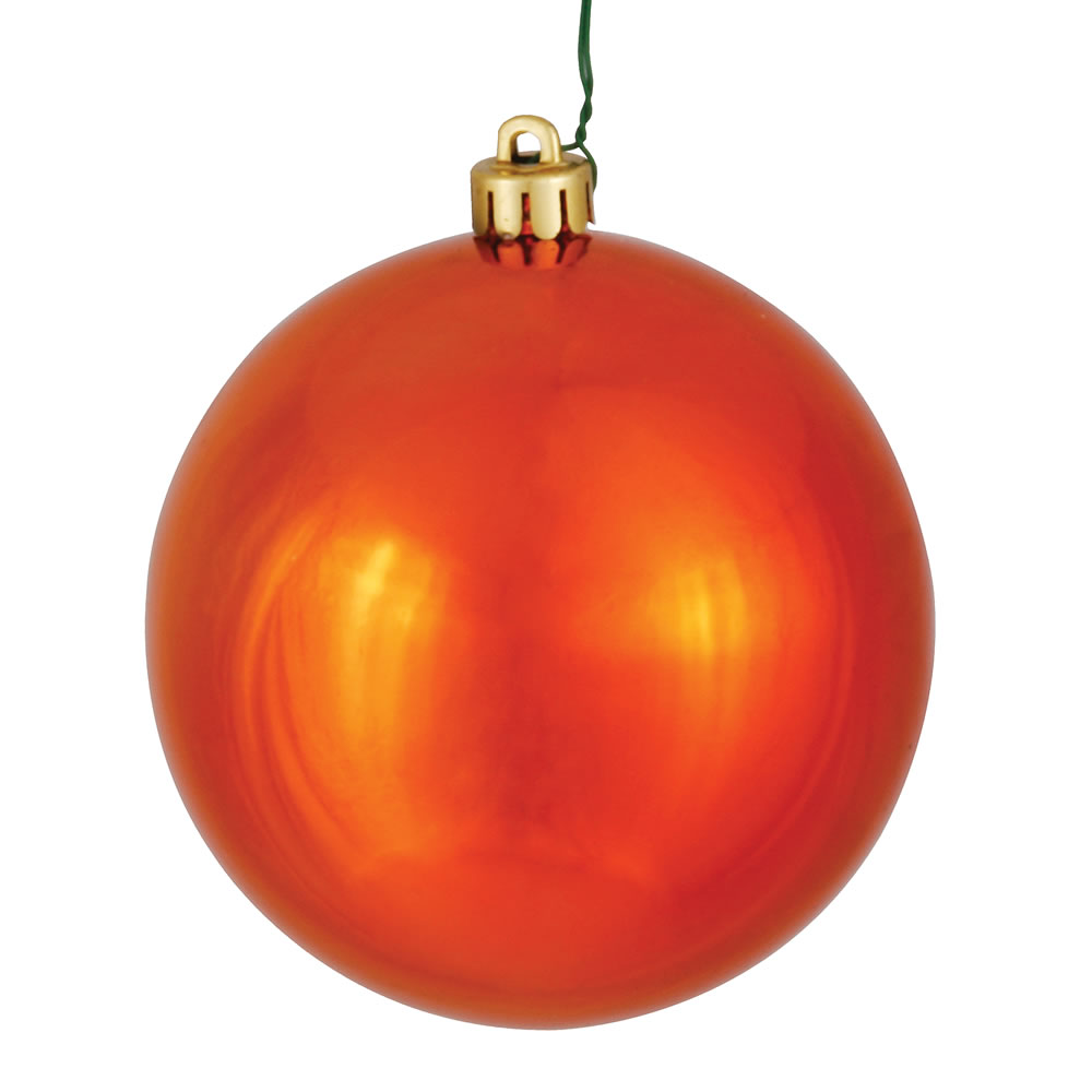 12 Inch Burnish Orange Shiny Round Shatterproof UV Christmas Ball Ornament