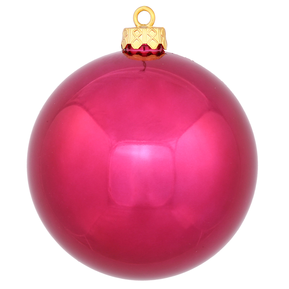 12 Inch Wine Shiny Round Shatterproof UV Christmas Ball Ornament