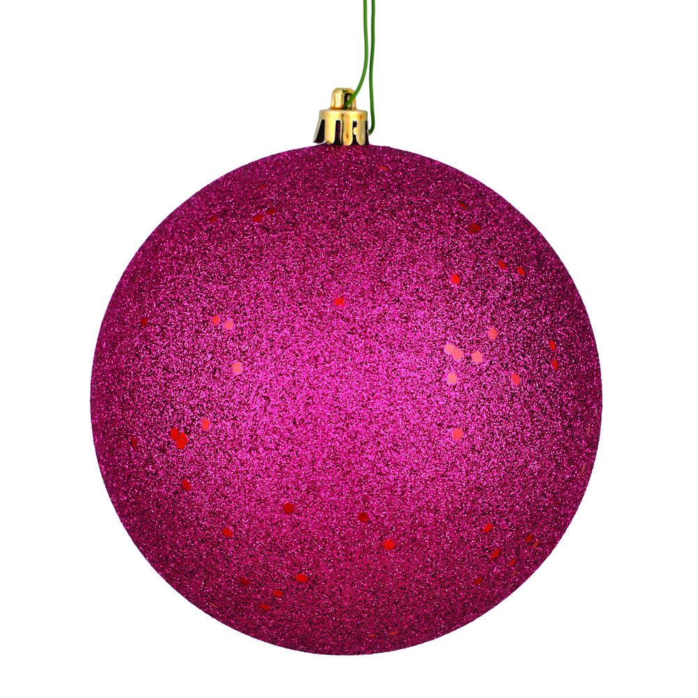 12 Inch Berry Red Sequin Christmas Ball Ornament with Drilled Cap