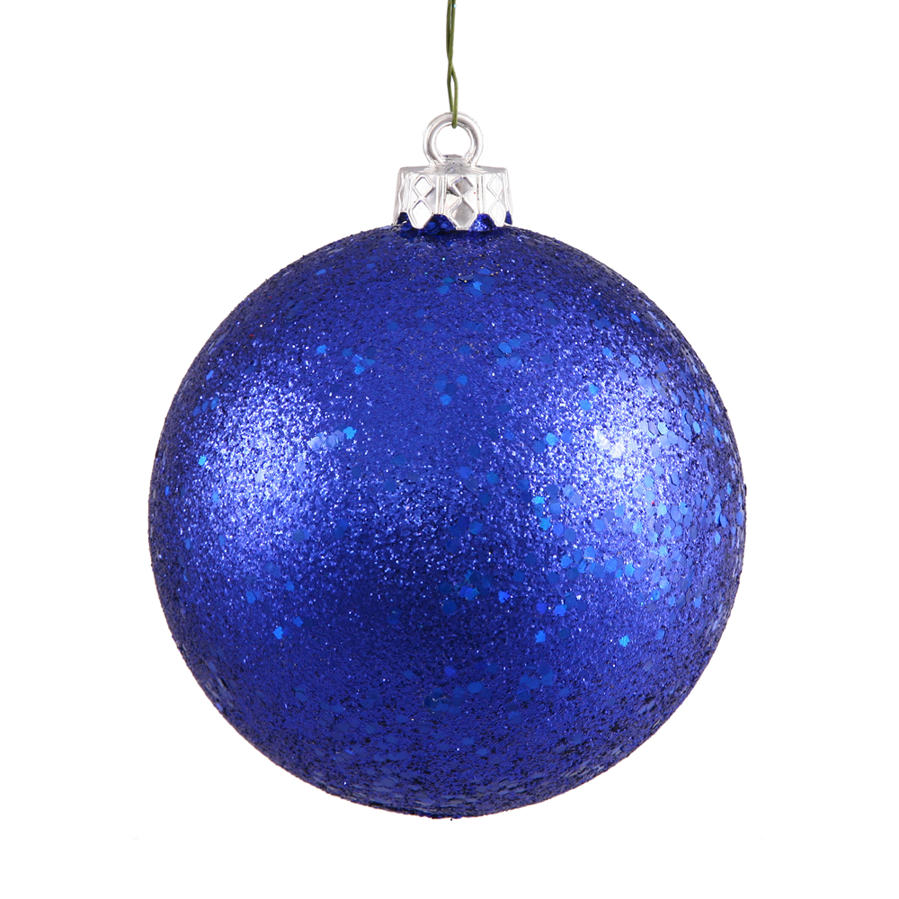 12 Inch Cobalt Blue Sequin Christmas Ball Ornament with Drilled Cap