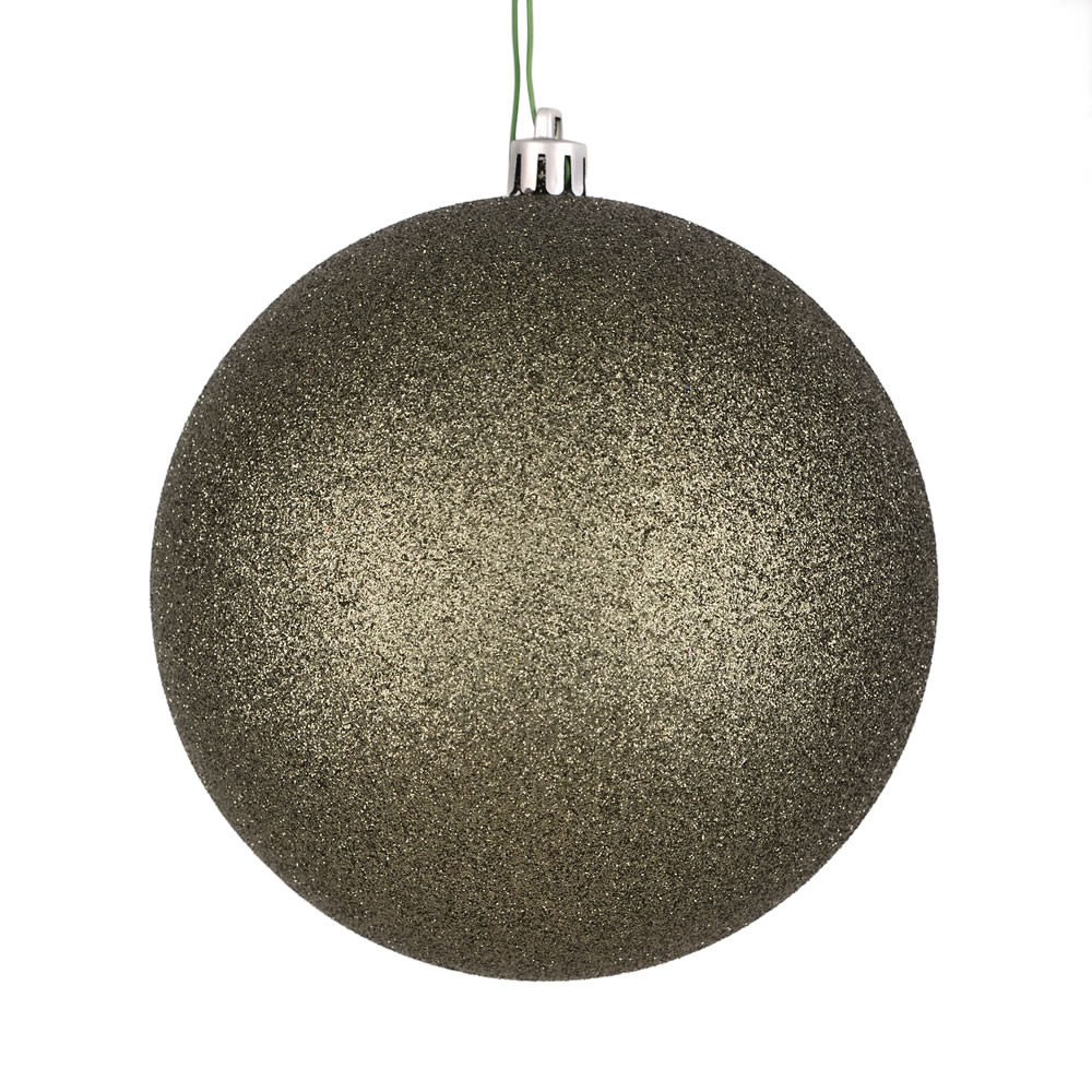 12 Inch Wrought Iron Glitter Christmas Ball Ornament with Drilled Cap