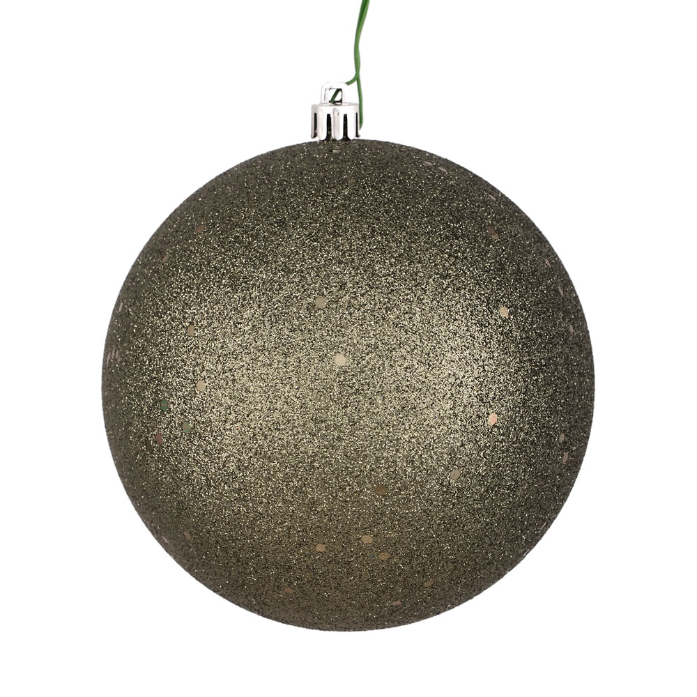 12 Inch Wrought Iron Sequin Christmas Ball Ornament with Drilled Cap