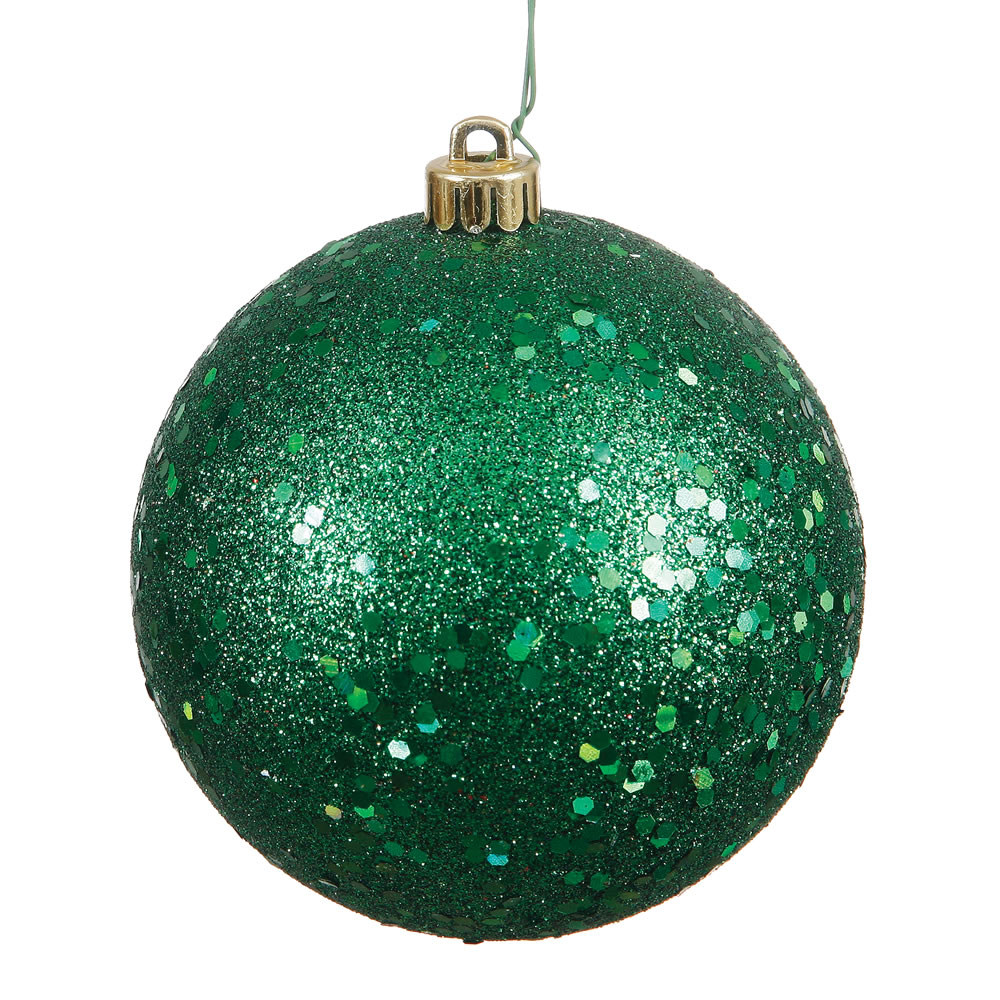 12 Inch Emerald Sequin Christmas Ball Ornament with Drilled Cap