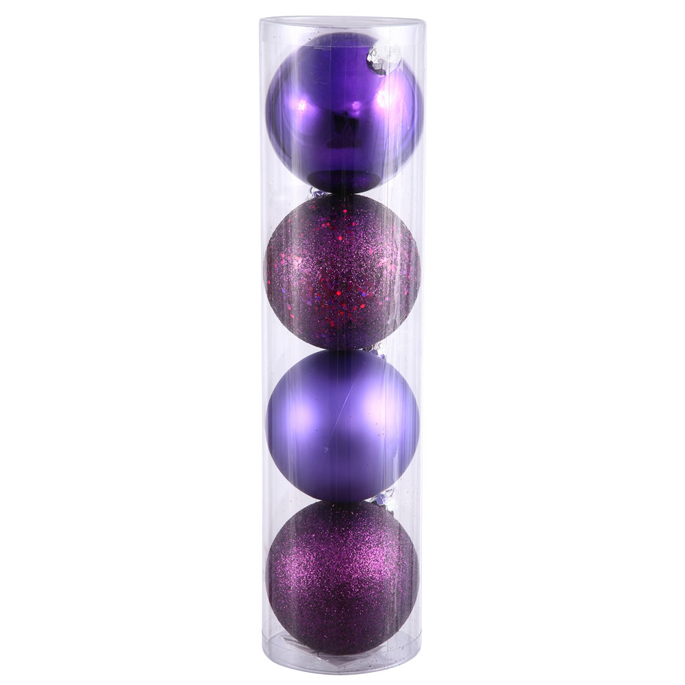 12 Inch Plum Assorted Finishes Round Christmas Ball Ornament 4 per Set