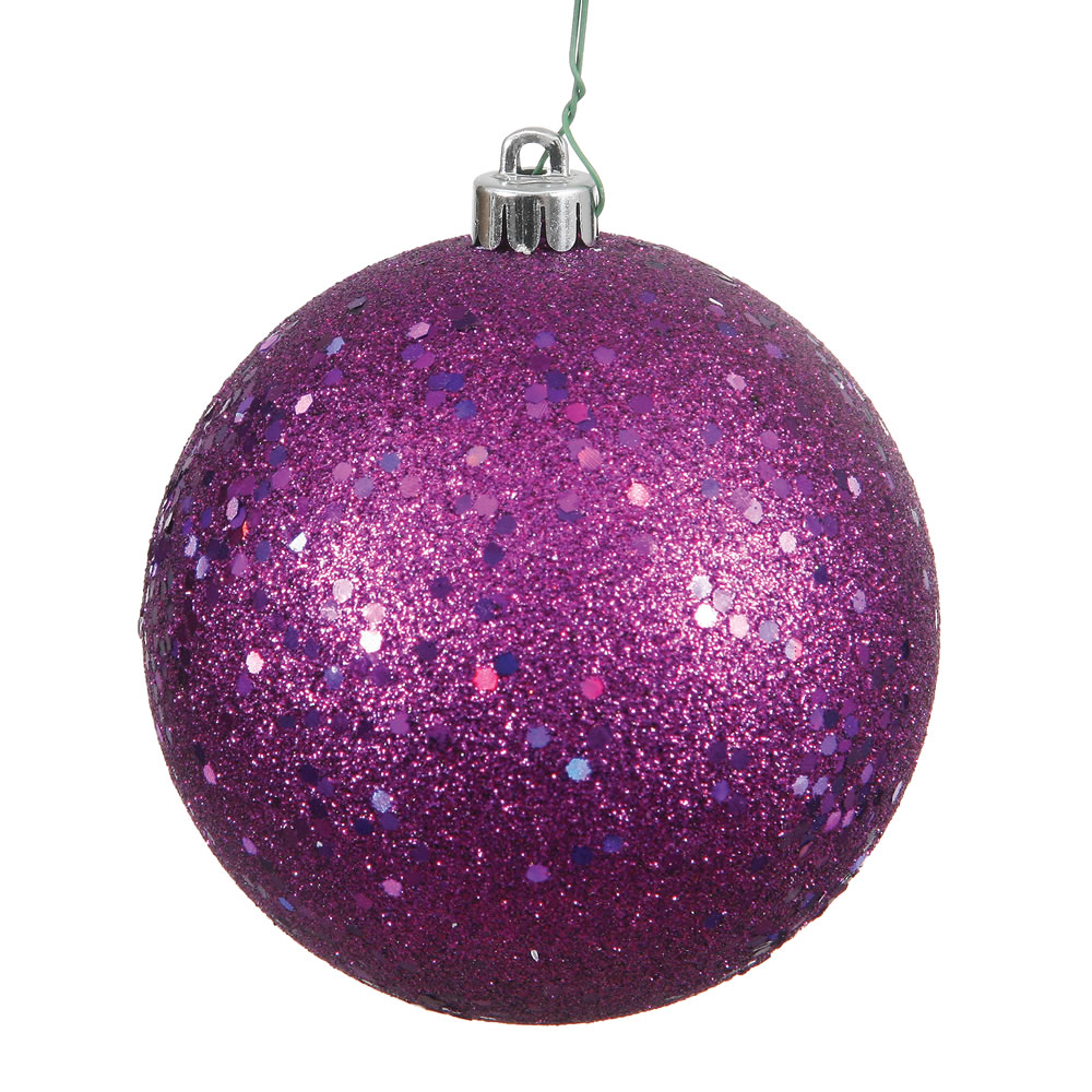 12 Inch Plum Sequin Christmas Ball Ornament with Drilled Cap