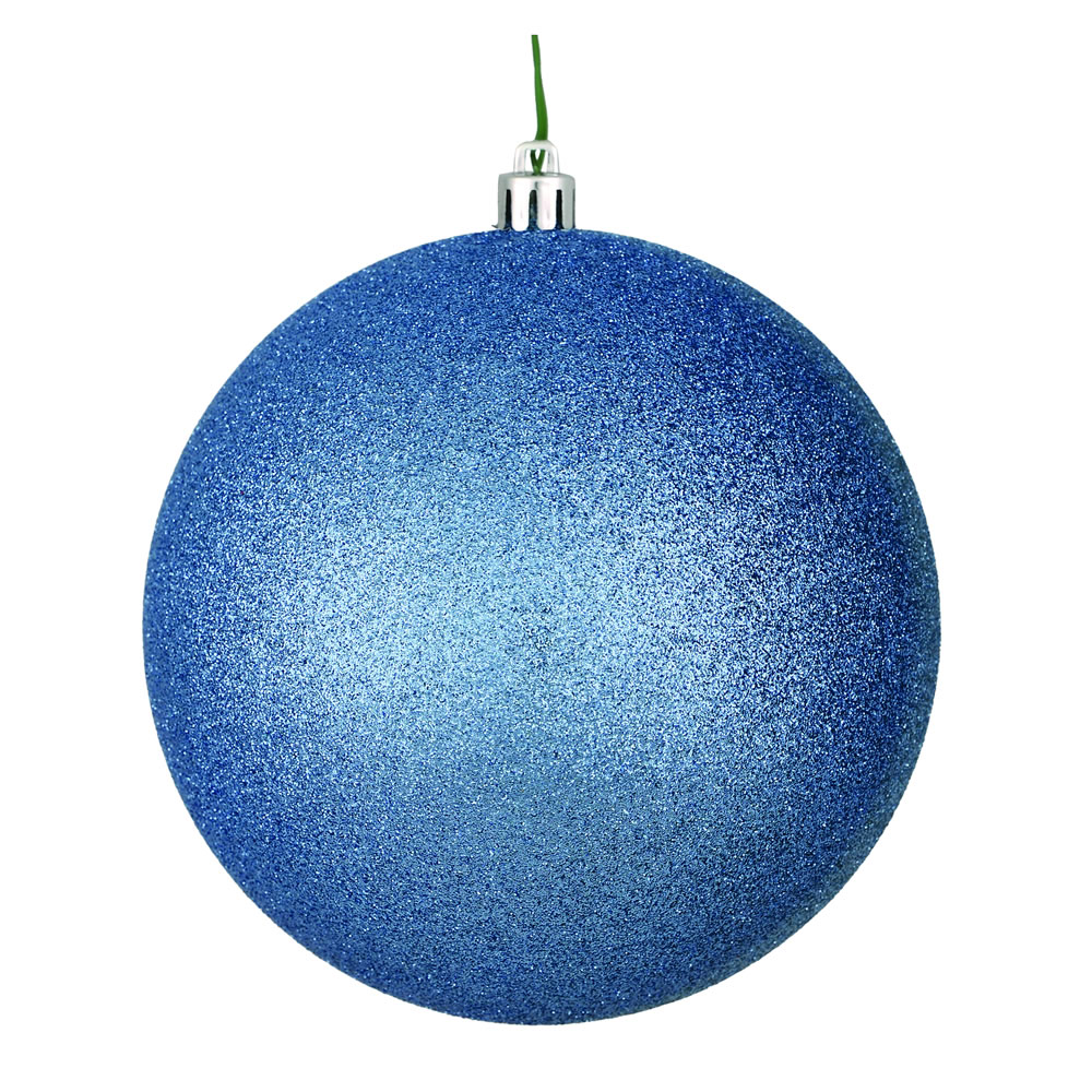 12 Inch Periwinkle Glitter Christmas Ball Ornament with Drilled Cap