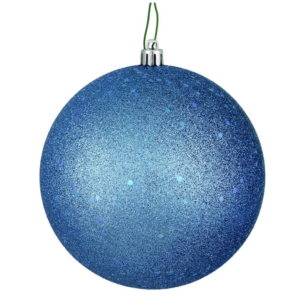 12 Inch Periwinkle Sequin Christmas Ball Ornament with Drilled Cap