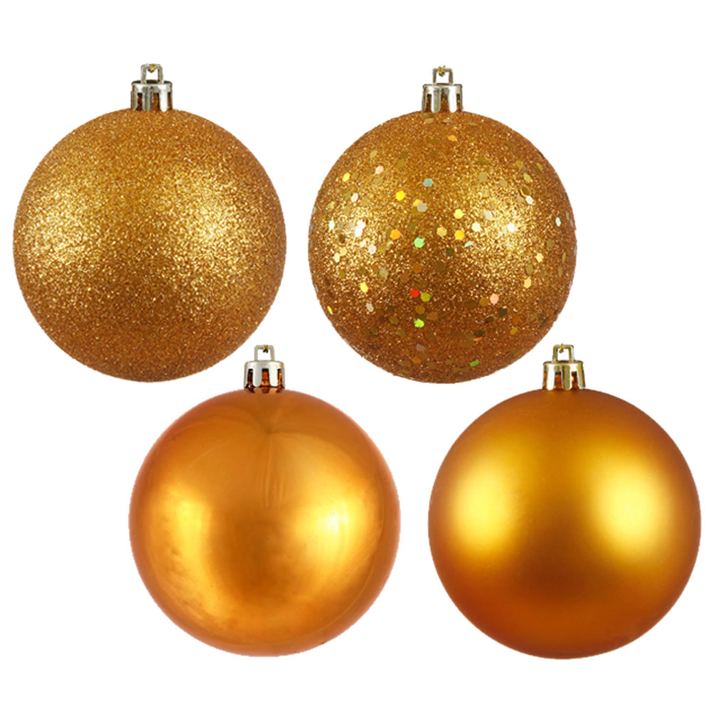 12 Inch Antique Gold Round Christmas Ball Ornament Shatterproof Set of 4 Assorted Finishes