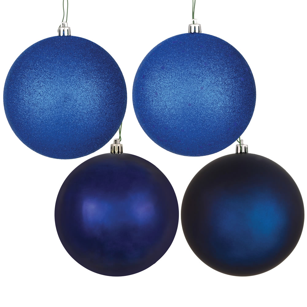 12 Inch Midnight Blue Round Christmas Ball Ornament Shatterproof Set of 4 Assorted Finishes