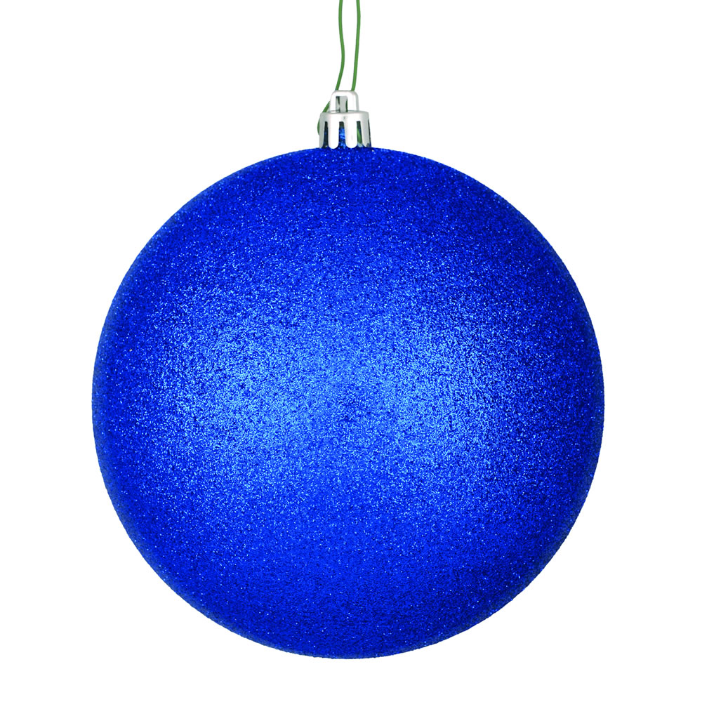 12 Inch Midnight Blue Glitter Christmas Ball Ornament with Drilled Cap