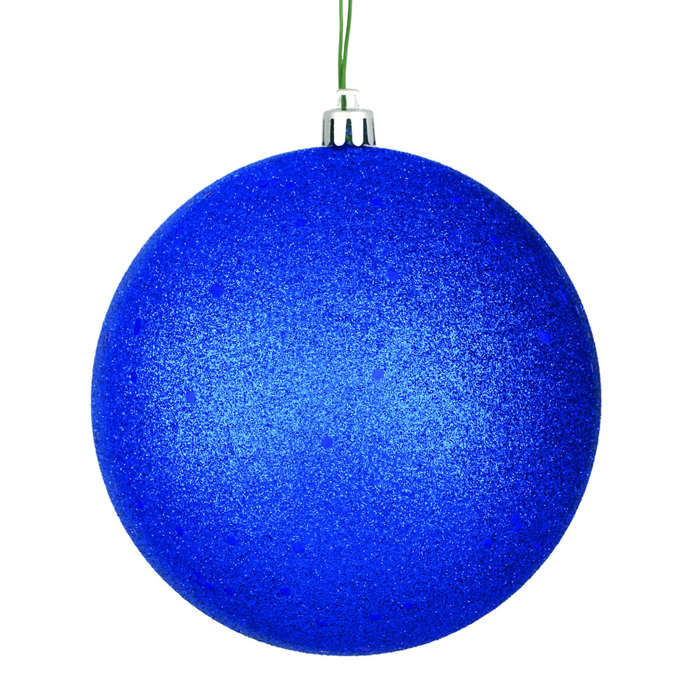 12 Inch Midnight Blue Sequin Christmas Ball Ornament with Drilled Cap